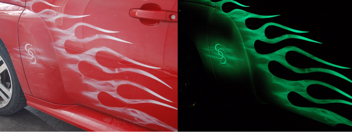Dark red paint on cars